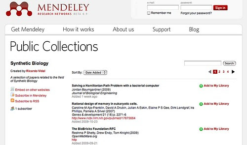 Mendeley public collection
