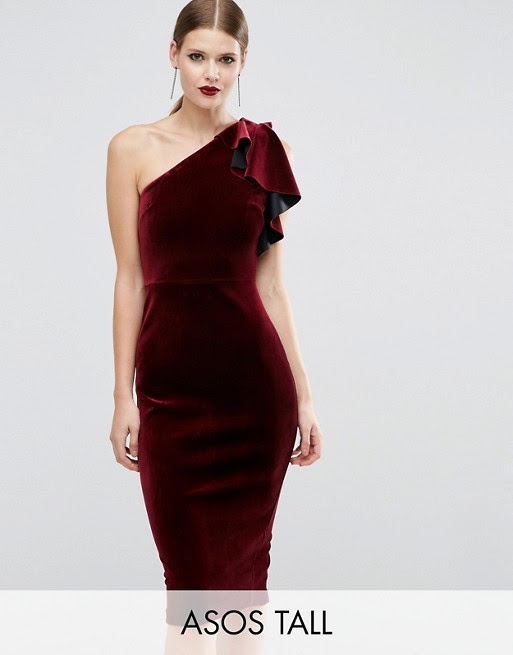 Asos one shoulder double ruffle midi bodycon dress