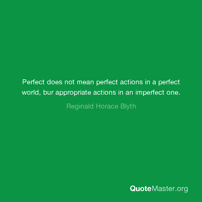 Perfect Does Not Mean Perfect Actions In A Perfect World Bur