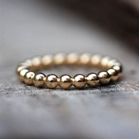 Gold Bubbles Wedding Band, 14K Gold Ring, Womens Wedding