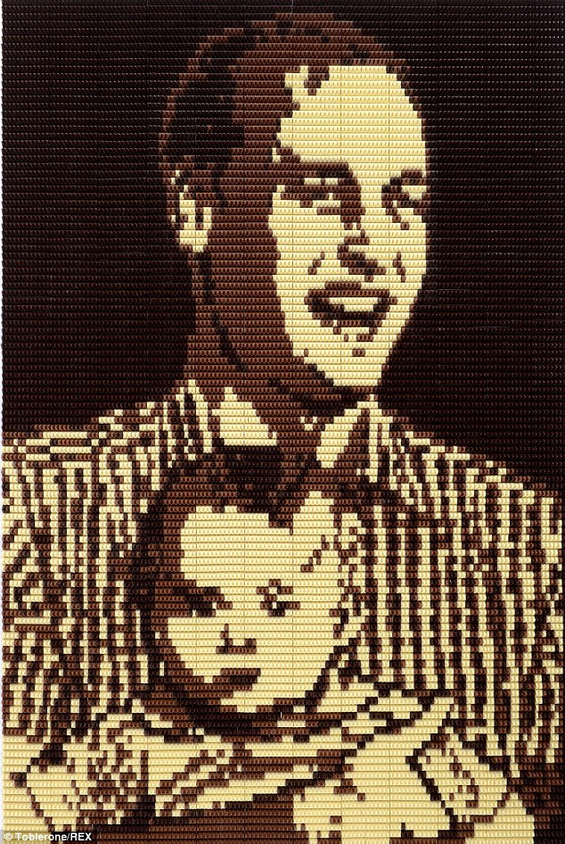 This portrait marks the Duke of Cambridge's first Father's Day as a Dad, made using 16,074 individual Toblerone chocolate triangles and taking more than 100 hours to make