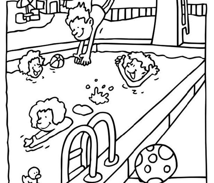 Preschool Swimming Pool Coloring Pages | Coloring Page Blog