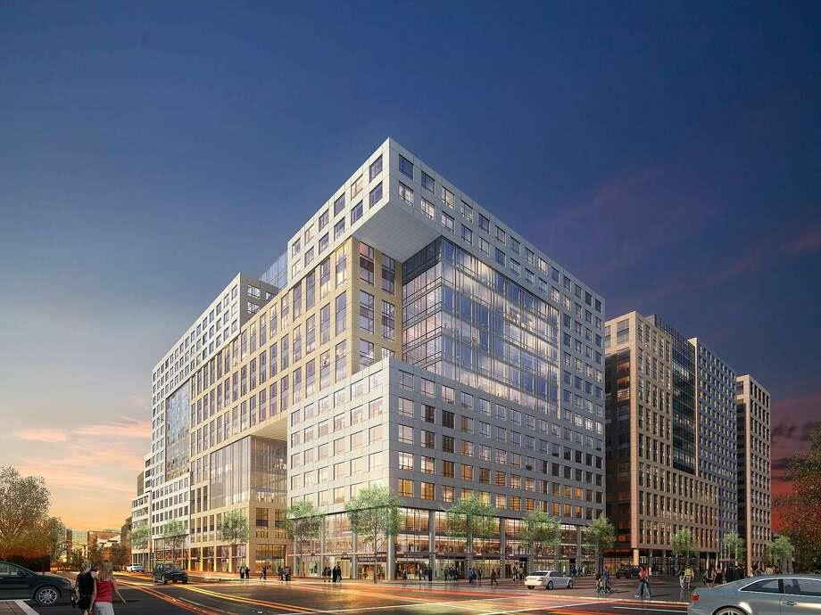 The current proposal for the final phase of Trinity Place, which is set to rise across from UN Plaza and the Orpheum Theatre at 8th and Market streets. The cantilevered summit and through-block portal in the renderings shown to city planners in February of 2016 are a return to the approved 2006 design; last year, the developer proposed a much less adventurous slab. Photo: Arquitectonica