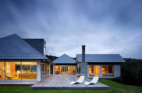 Beach House with Relaxation Outdoor Furnitures in ...