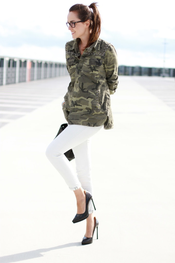 army jacket and white jeans outfit. how to wear a camo shirt/jacket?