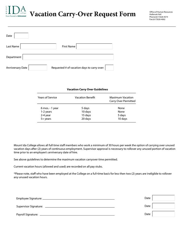 Annual Leave Request Form Template Vacation Request Form
