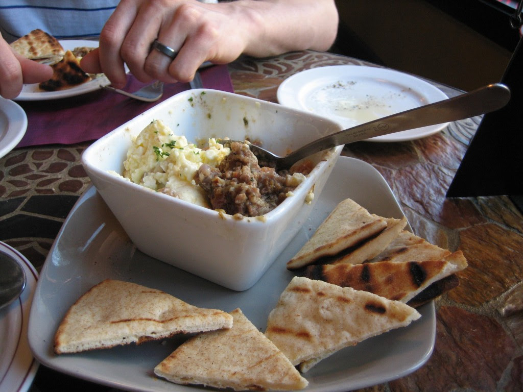 Here's the moussaka. It's ground lamb with egg plant. Served with toasted pitas. SO GOOD!