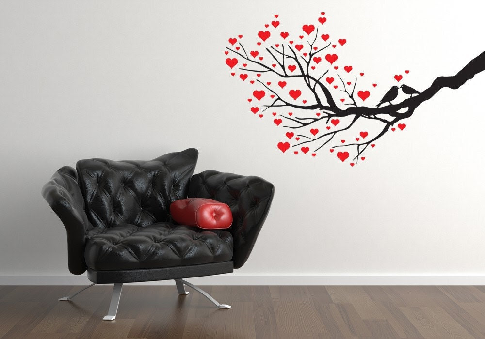 Love Birds on Branch Branches with Hearts by VinylWallAccents