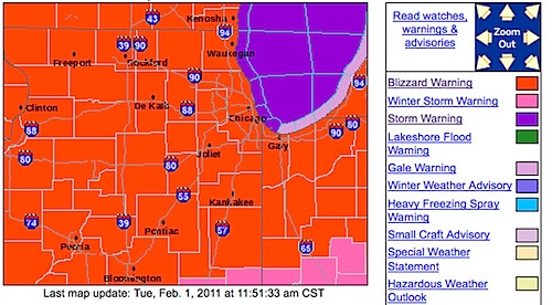 That's today's lurid National Weather Service map for the Chicago forecast