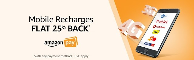 Get 75% cashback on first prepaid recharge and 25% casback on repeat recharges at Amazon