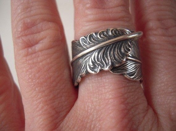 Steampunk Feather Ring- Adjustable Ring- Sterling Silver Ring on Etsy, $25.00