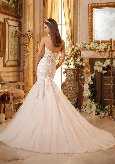 Vintage Embroidery on Soft Net Bridal Gown   Style 5461