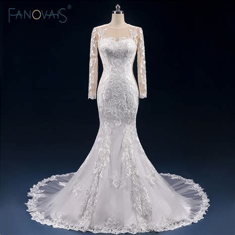 Real Made Sexy Mermaid Wedding Dresses Long Sleeve Lace
