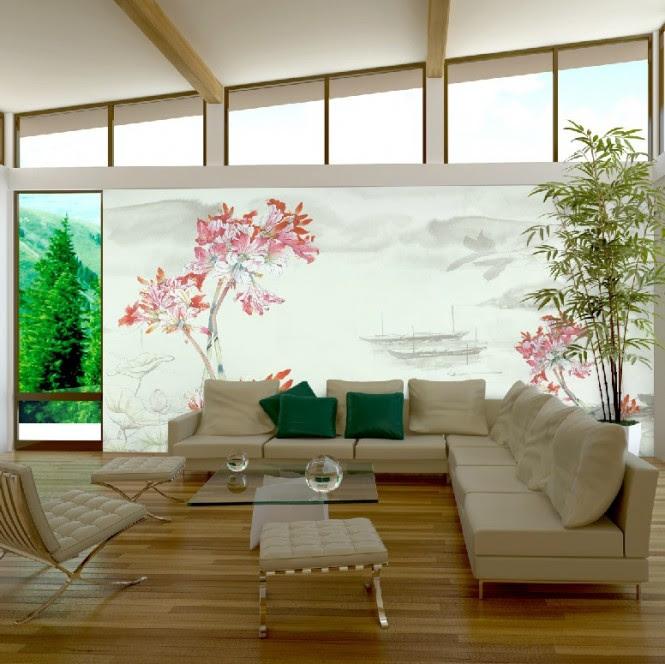 Pink white living room