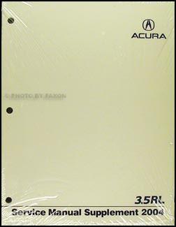 2004 Acurarepair Shop Manual Original Supplement Acura Car