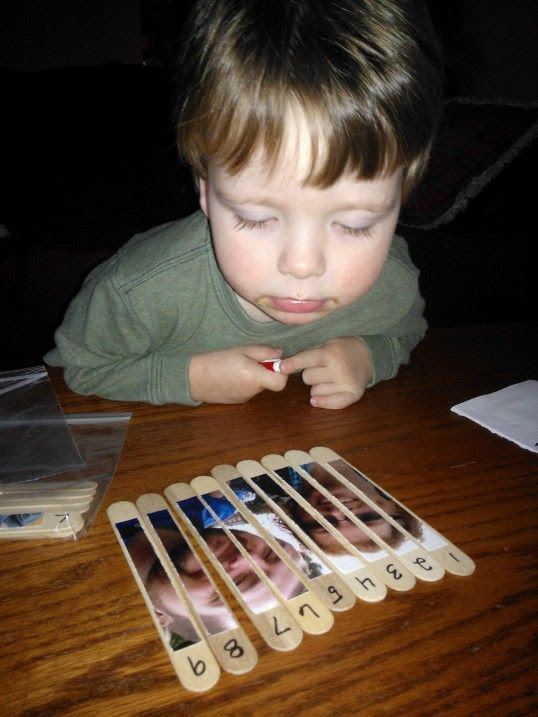 Toddler photo and counting activity...try with kids' names and their pictures