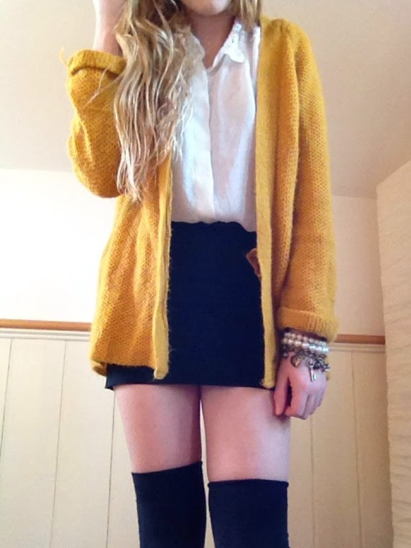 Patterns outfit bright cardigan yellow york