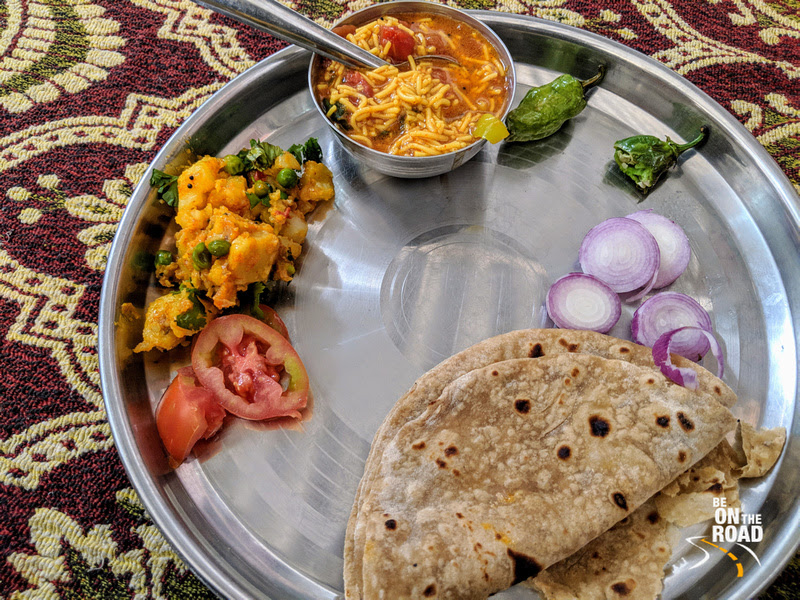 A delicious home cooked Gujarati meal at Nirona, Kutch