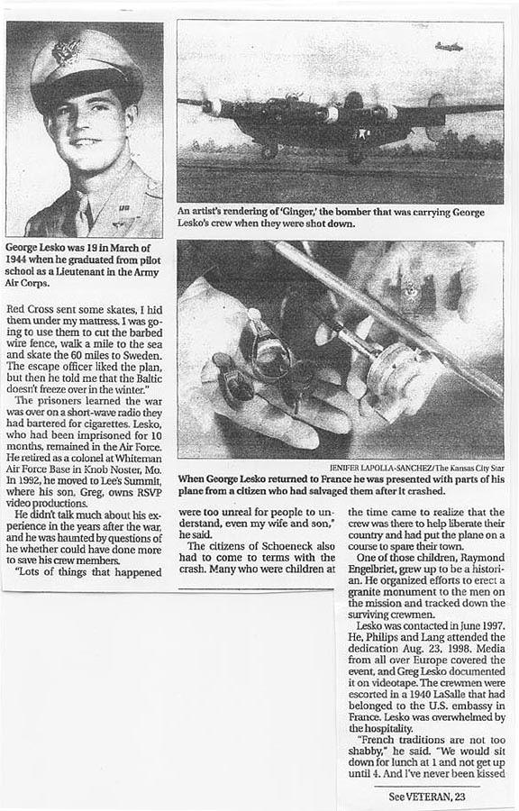 George Lesko newspaper article. WWII crash