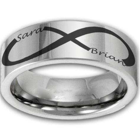 8MM Wide Custom Infinity Symbol Tungsten Ring w/ Two Name