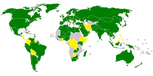 In het groen de landen die het ruimteverdrag uit 1967 ondertekend en geratificeerd hebben. De gele landen hebben het enkel ondertekend. Afbeelding: Alinor (via Wikimedia Commons).