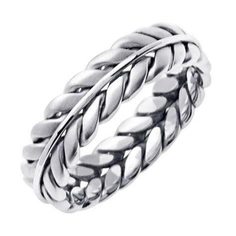 14K White Gold Hand Braided Wedding Ring Band For Men Or