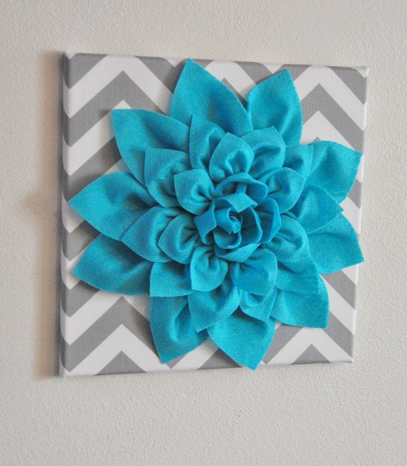 Wall Flower Light Turquoise Dahlia on Gray and White by bedbuggs