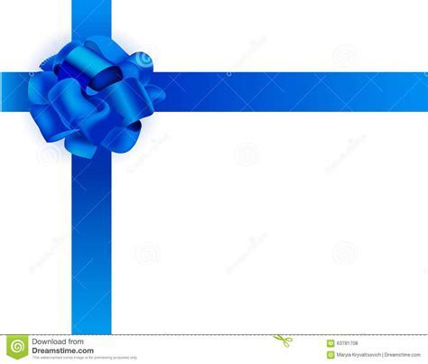 Vector Realistic Illustration. Blue Ribbon Bow Stock