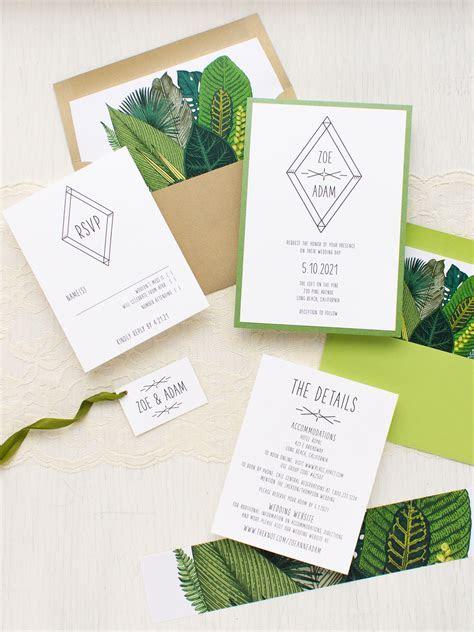Green Leaf Wedding Invitations   Beacon Lane