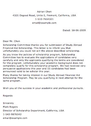 Sample application letter for scholarship grant
