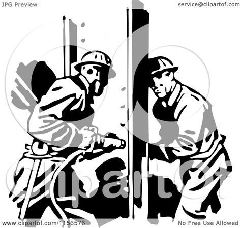 Clipart of a Black and White Retro Construction Workers