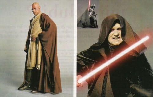 Publicity photos of Mace Windu and Darth Sidous.