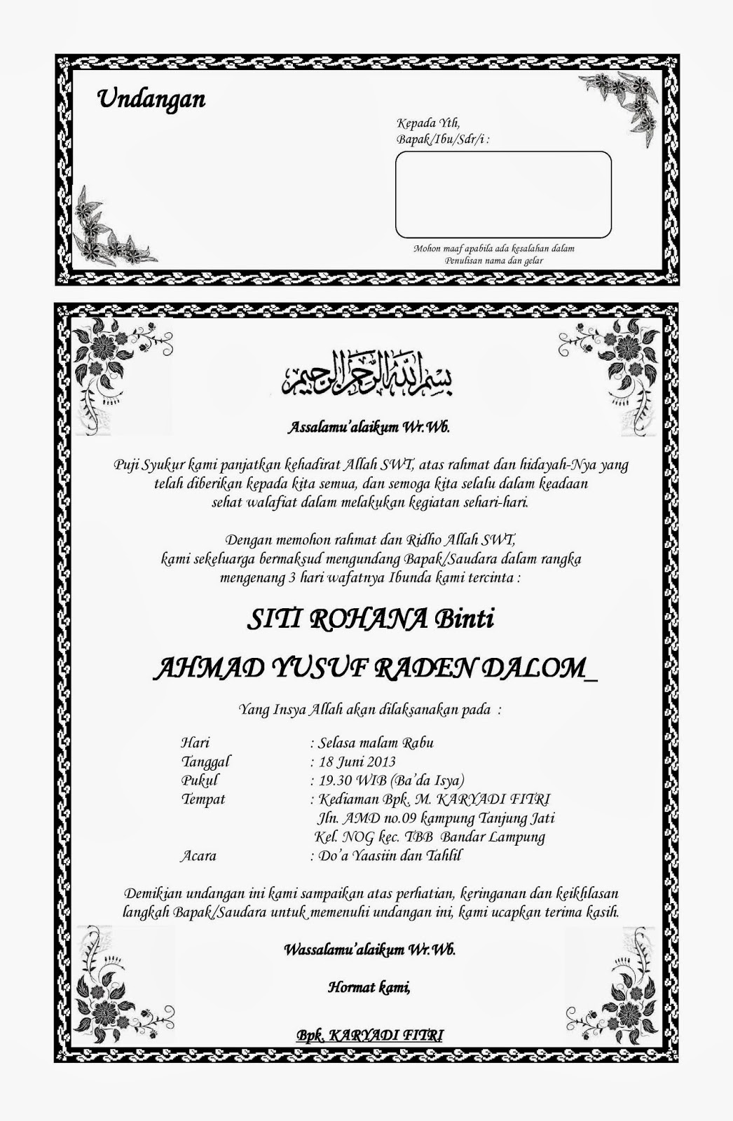 contoh surat undangan haul bahasa sunda contoh isi undangan
