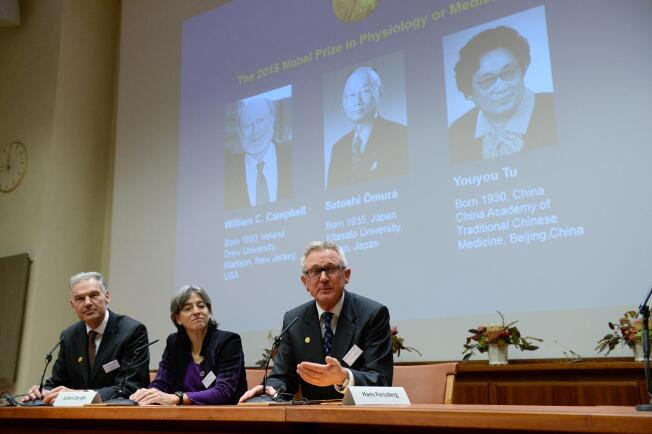 Jan Andersson, Juleen Zierath and Hans Forssberg, members of the Karolinska Institute Nobel committee, talk to media at a press conference in Stockholm, Monday Oct. 5, 2015. The Nobel judges awarded the prize to Irish-born William Campbell, Satoshi Omura of Japan and Tu Youyou of China, the first ever medicine laureate from China.