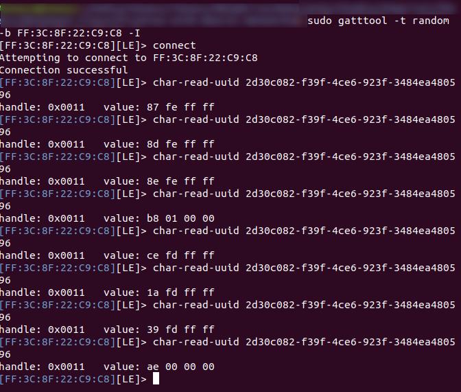 BLE gatttool interactive shell script