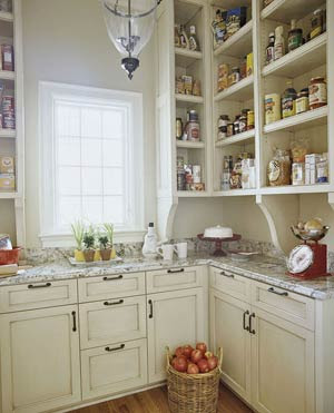 pantry with open shelves