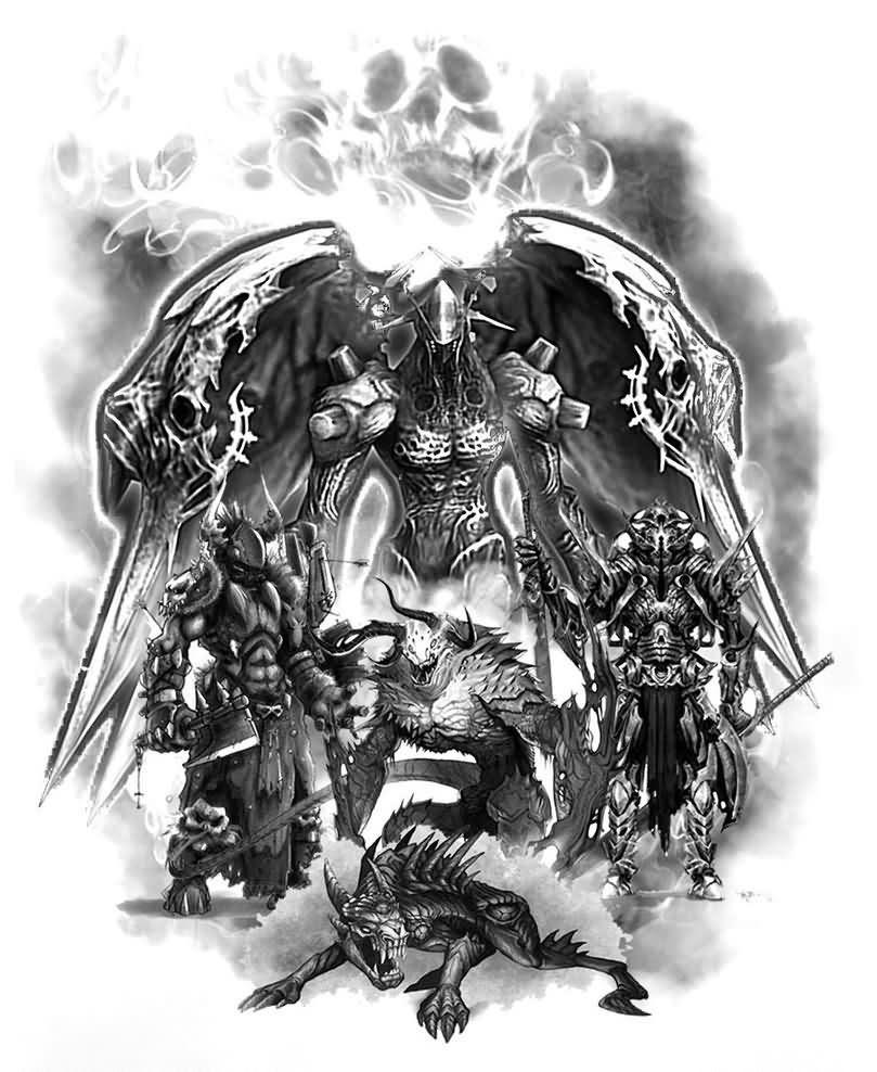 Amazing Dark Ink Angels And Demon Tattoos Design