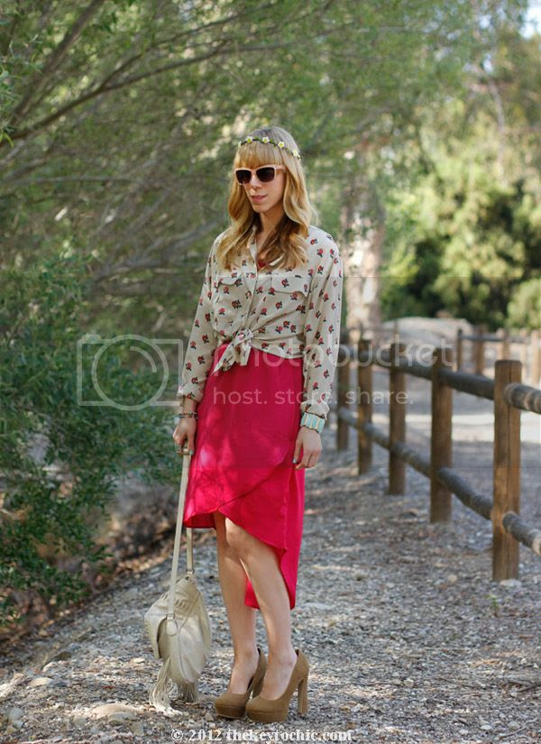 Equipment floral blouse, Gypsy Junkies high low dress, southern California fashion blog, Los Angeles street style