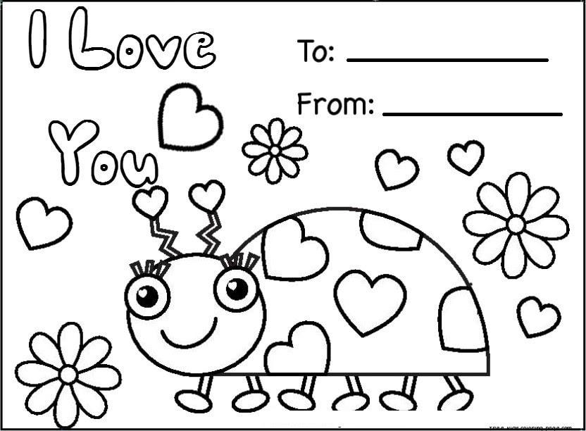 Valentine Card Design: Colouring Printable Valentine Cards For Kids