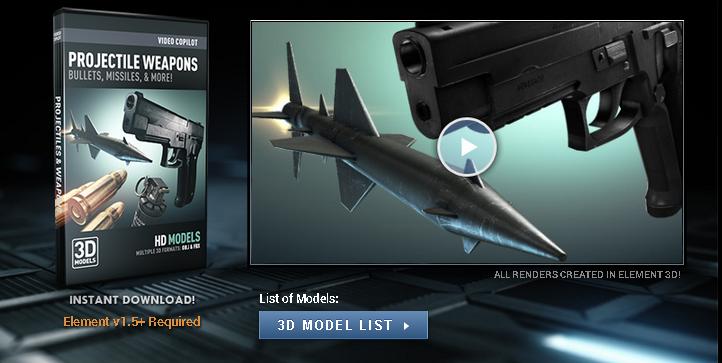 تحميل اسطوانة Projectile Weapons نماذج طلقات واسلحة لبرامج السينما فور دي والثري دي ماكس والمايا من فيديو كوبايلوت - Video copilot - Projectile Weapons