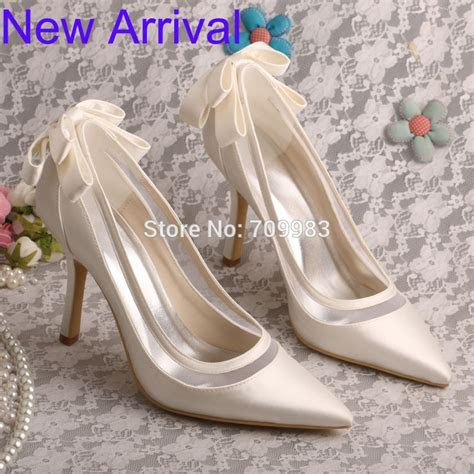 Wedopus Stiletto Heel Pointed Toe Bow Women Pumps Ivory