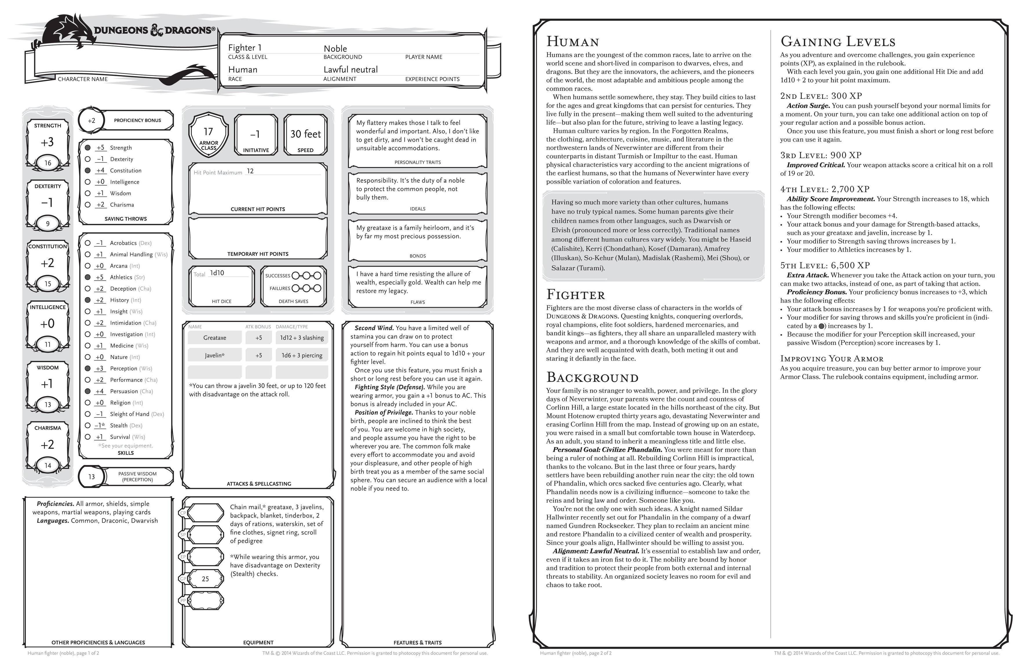 D&D 5th Edition character sheet with pregenerated Fighter example ...