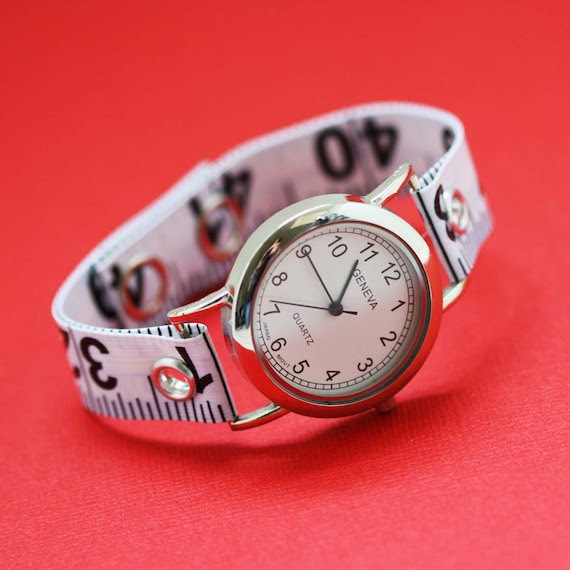 Tape Measure Watch in White