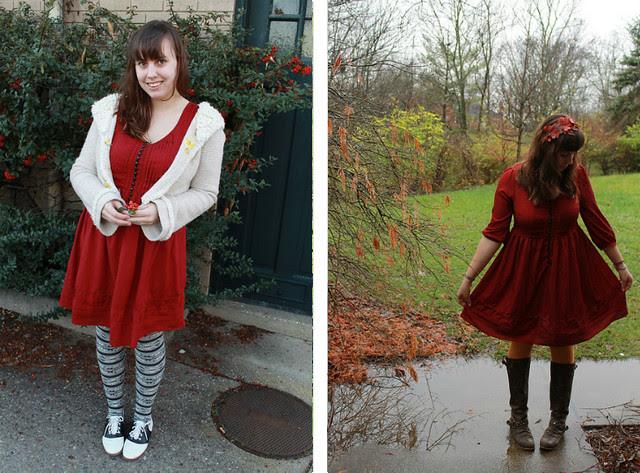 Winter Remix: Red babydoll dress
