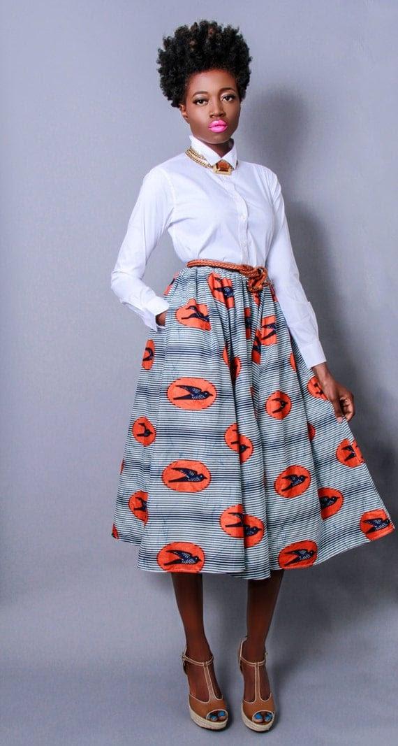 NEW The Shavon -African Print 100% Holland Wax Cotton Midi Skirt