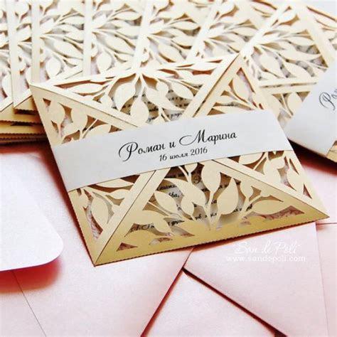 Leaves Leaf Laser Cut Rustic Wedding Invitation Pattern