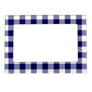 Navy and White Gingham Pattern Magnetic Frames