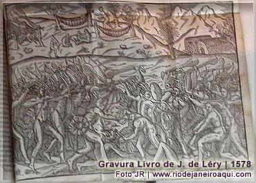 Indios das terras da baía de guanabara em gravura de 1578