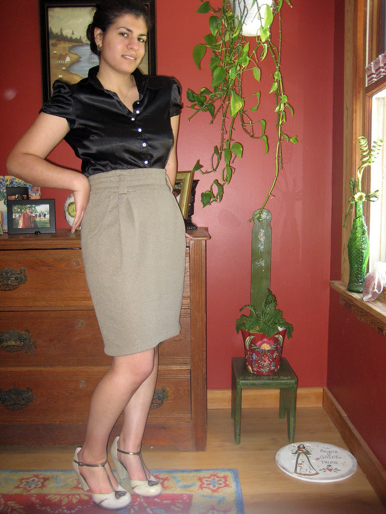 pencil skirt, black satin button down, bone t-straps