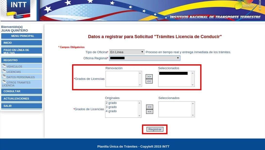 Licencia De Conducir En Venezuela Sistema Del Intt